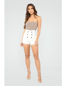 The Good Life High Rise Button Shorts   White by Fashion Nova