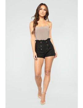 The Good Life High Rise Button Shorts   Black by Fashion Nova