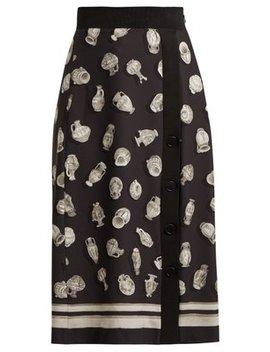 Banksia Printed Front Slit Crepe Skirt by Altuzarra
