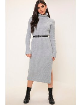 Grey Roll Neck Ribbed Maxi Dress by I Saw It First