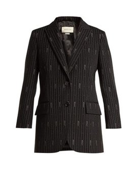 Logo Wool And Silk Blend Jacquard Blazer by Gucci