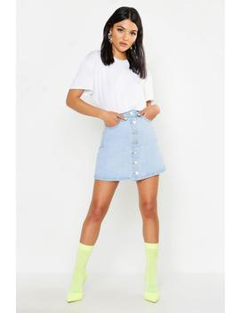 Button Front Denim Mini Skirt by Boohoo