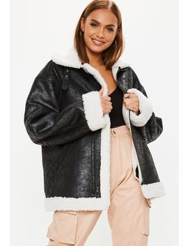 Black Oversized Zip Through Boyfriend Shearling Jacket by Missguided
