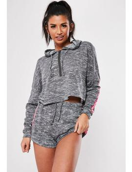 Dark Grey Cropped Hoodie And Shorts Loungewear Set by Missguided