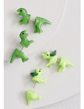 Prehistoric Posh Dinosaur Earring Set by Collectif