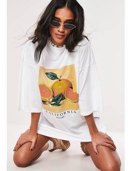 White Oversized Orange T Shirt Dress by Missguided