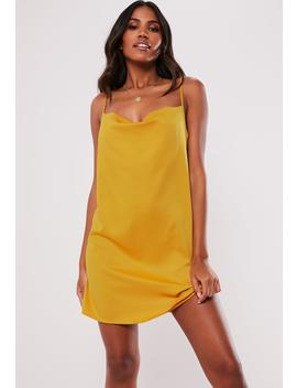 Mustard Satin Strappy Cowl Shift Dress by Missguided