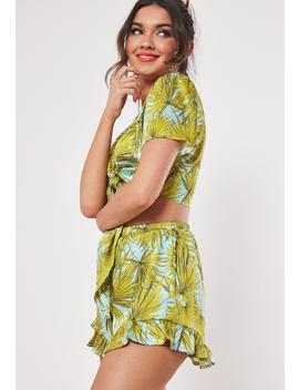 Blue Tropical Print Co Ord Shorts by Missguided
