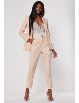 Peach Stripe Co Ord Tailored Cigarette Pants by Missguided