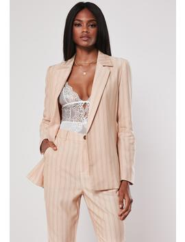 Peach Stripe Co Ord Tailored Blazer by Missguided