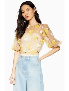 Fruit Floral Mesh Top by Topshop