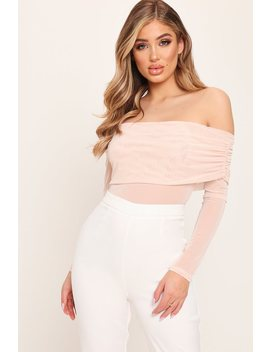Nude Asymmetric Mesh Long Sleeve Bodysuit by I Saw It First