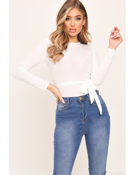 White Tie Waist Long Sleeve Ribbed Bodysuit by I Saw It First