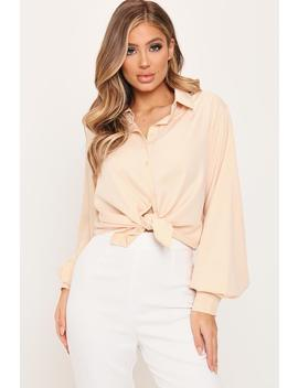 Nude Balloon Sleeve Button Front Shirt by I Saw It First
