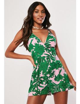 Pink Tropical Print Cami Wrap Playsuit by Missguided