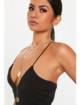 Gold Look Coin Multirow Necklace by Missguided
