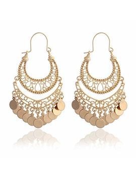 Riah Fashion Bohemian Chandelier Coin Dangle Earrings   Gypsy Lightweight Filigree Disc Charm Tassel Ethnic Hoops by Riah Fashion