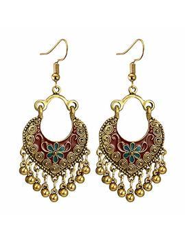 Ethnic Brocade Gypsy Engraved Flower Tassel Bells Hook Earrings Long Hollow Dangle Earrings For Women And Girls by Bracet