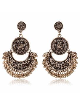 Rmm Ethnic Bali Jhumka Jhumki Gold Brocade Lotus Mexico Gypsy Dangle Earrings With Gift Bag by Rmm