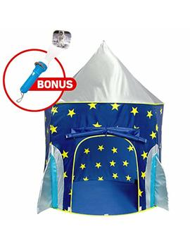 Rocket Ship Play Tent For Boys – Rocket Ship Tent, Astronaut Space Tent For Kids W/ Projector Toy For Indoor Outdoor Kids Pop Up Rocket Tent Fort by Usa Toyz