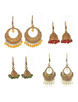 Geode Delight Women's Oxidized Metal Gold Finish Women Fashion Jhumka Jhumki Earrings Combo Set Of 4 Earring Pair by Geode Delight