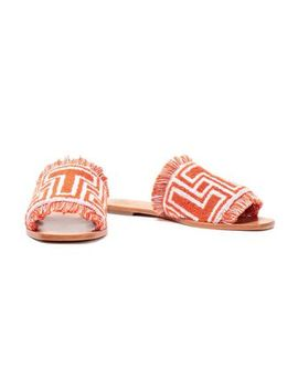 Fringed Cotton Terry Slides by Tory Burch