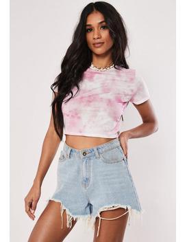 Pink Tie Dye Short Sleeve Crop Top by Missguided