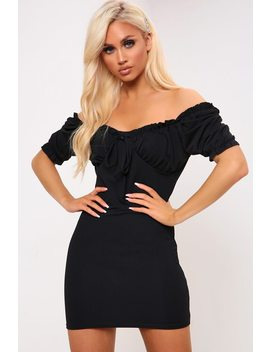 Black Puff Sleeve Tie Front Mini Dress by I Saw It First
