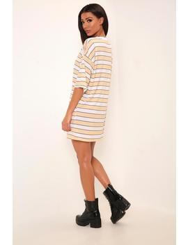 Camel Striped Oversized T Shirt Dress by I Saw It First