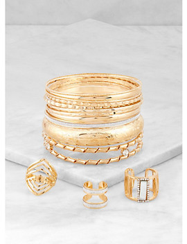 Plus Size Metallic Bangles With Ring Trio by Rainbow