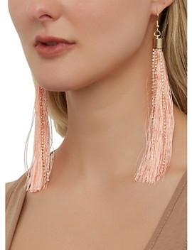 Rhinestone Tassel Fish Hook Earrings by Rainbow