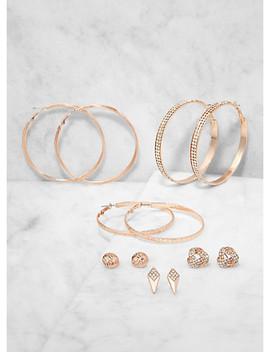 Set Of 6 Rhinestone Hoop And Stud Earrings by Rainbow