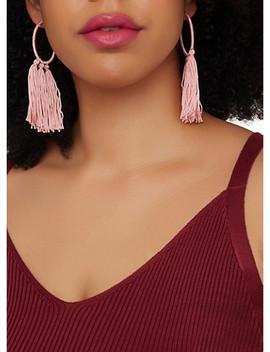 Threaded Tassel Hoop Earrings by Rainbow
