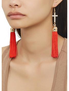 Rhinestone Cross Tassel Drop Earrings by Rainbow