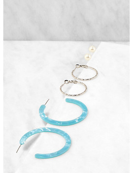 Faux Pearl Stud And Hoop Earring Trio by Rainbow