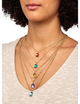 Layered Jeweled Necklace With Earrings by Rainbow