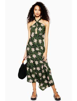 Hibiscus Floral Halter Neck Midi Dress by Topshop