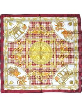 Silk Scarf, Ss889561 Golden Carriage, Precision Printed, Lightairy Satin (Red) Brand Cased by Maruyama