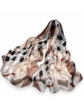 """100 Percents Pure Mulberry Silk Women Large Long Scarf Shawl Check Style 69"""" 26"""" by Packgood"""