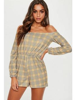 Mustard Check Bardot Playsuit by Missguided
