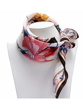 100 Percents Silk Scarf Neckerchief Small Square Print Scarves Women by Wjx Fashion Store