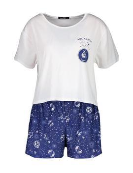 Aquarius Zodiac Print Shorts Set by Boohoo