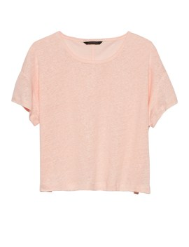 Petite Cropped Linen T Shirt by Banana Repbulic