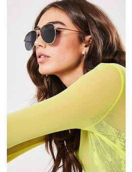 Gold Look Black Lens Aviator Sunglasses by Missguided