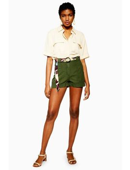 Green Scarf Belt Utility Shorts by Topshop
