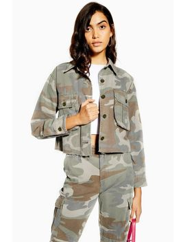 Pale Wash Camouflage Shacket by Topshop