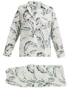Leaf Print Cotton Pyjamas by Pour Les Femmes