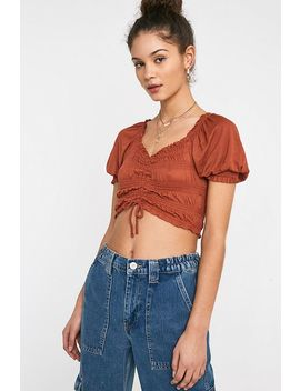 Uo   Haut Court Froncé Shay à Manches Bouffantes by Urban Outfitters