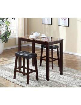 Roundhill Furniture 3 Piece Counter Height Glossy Print Marble Breakfast Table With Stools by Roundhill