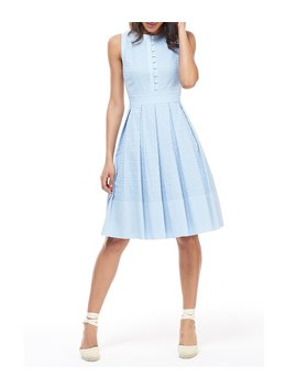Ellen Embroidered Cotton Pleated A Line Dress by Gal Meets Glam Collection